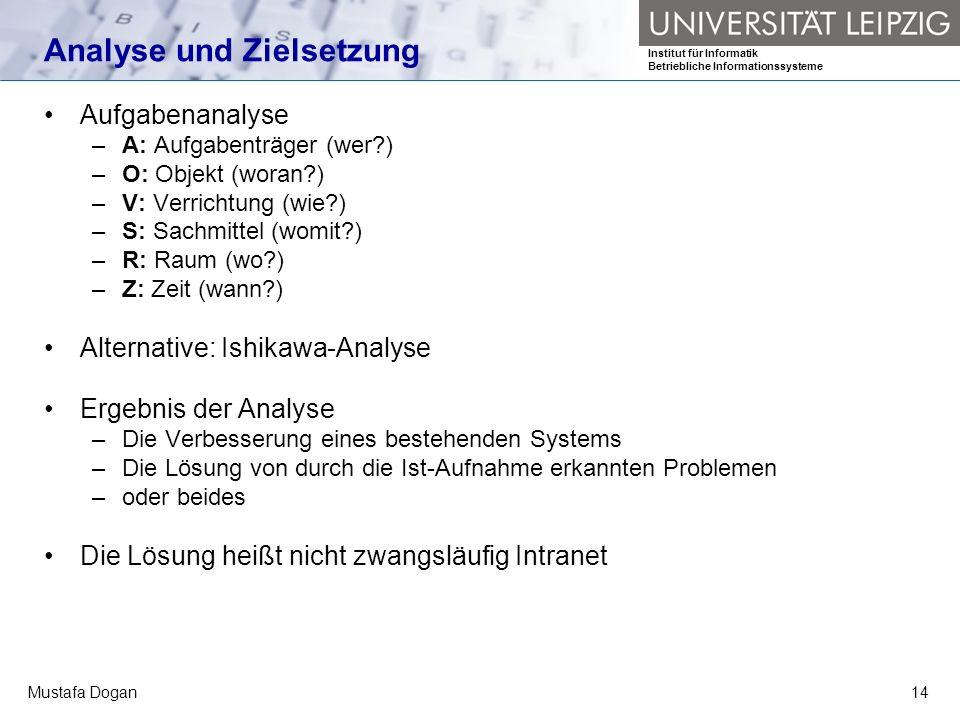 Institut für Informatik Betriebliche Informationssysteme Mustafa Dogan14 Analyse und Zielsetzung Aufgabenanalyse –A: Aufgabenträger (wer?) –O: Objekt