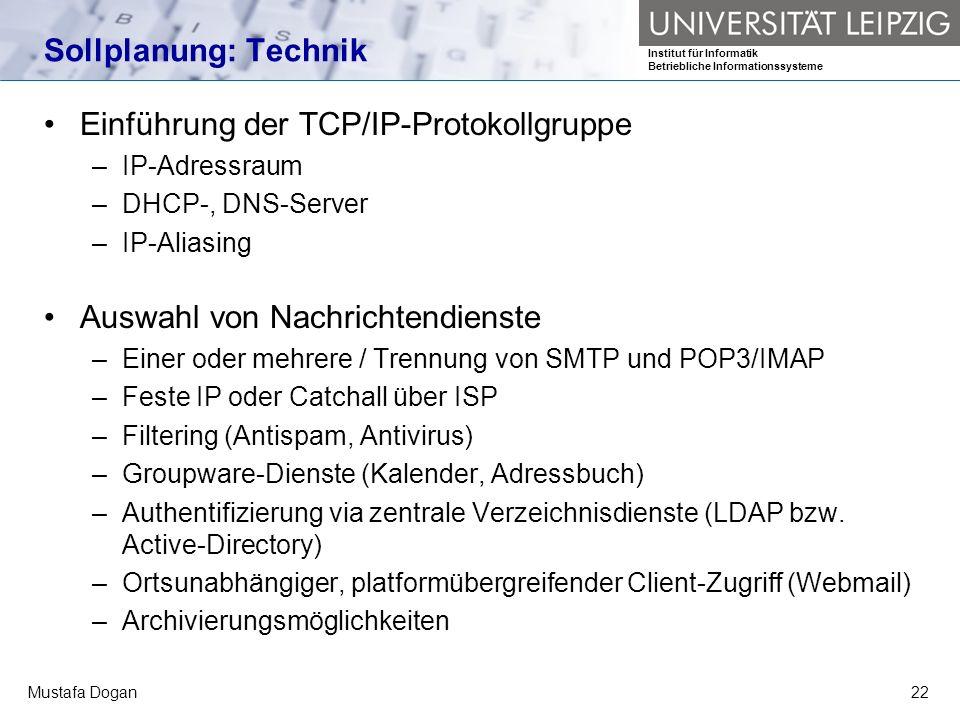 Institut für Informatik Betriebliche Informationssysteme Mustafa Dogan22 Sollplanung: Technik Einführung der TCP/IP-Protokollgruppe –IP-Adressraum –DH