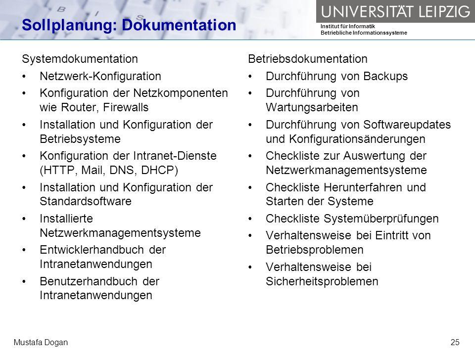 Institut für Informatik Betriebliche Informationssysteme Mustafa Dogan25 Sollplanung: Dokumentation Systemdokumentation Netzwerk-Konfiguration Konfigu