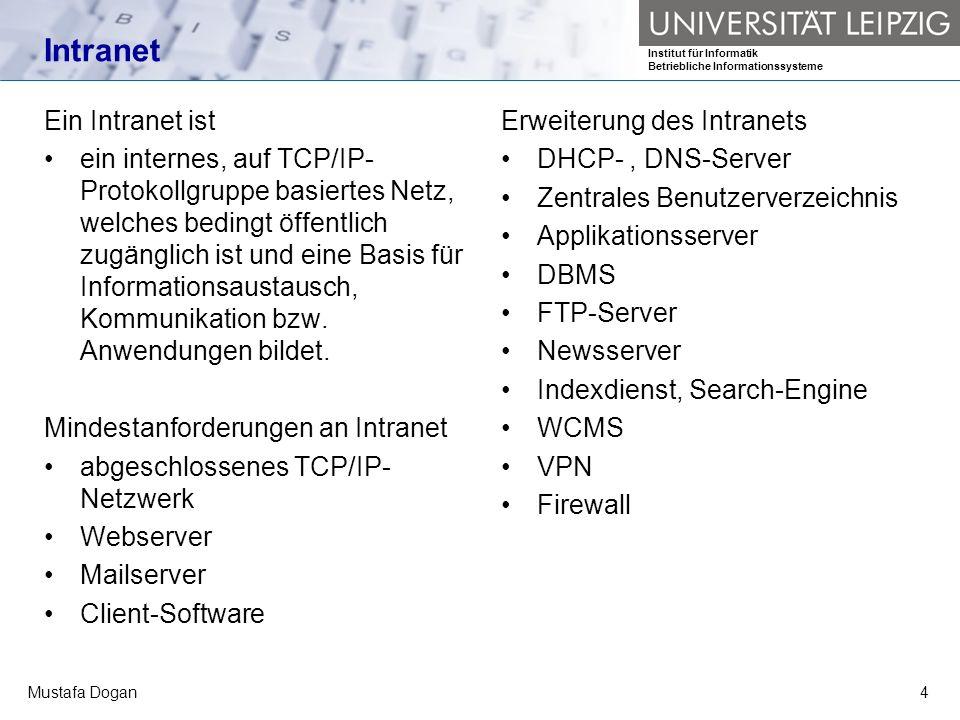 Institut für Informatik Betriebliche Informationssysteme Mustafa Dogan4 Intranet Ein Intranet ist ein internes, auf TCP/IP- Protokollgruppe basiertes