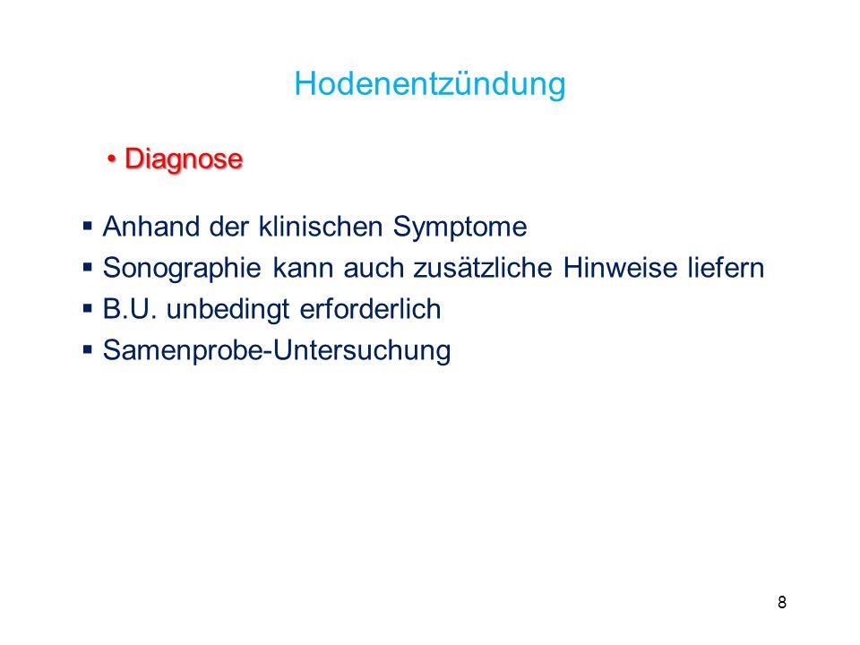Hodenentzündung Anhand der klinischen Symptome Sonographie kann auch zusätzliche Hinweise liefern B.U. unbedingt erforderlich Samenprobe-Untersuchung