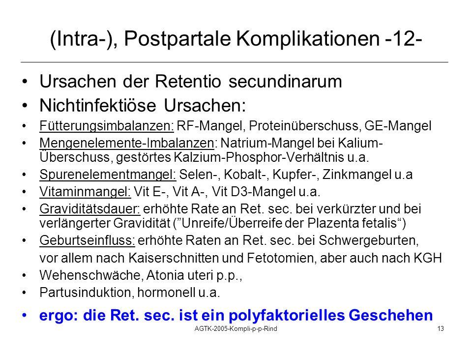 AGTK-2005-Kompli-p-p-Rind13 (Intra-), Postpartale Komplikationen -12- Ursachen der Retentio secundinarum Nichtinfektiöse Ursachen: Fütterungsimbalanze
