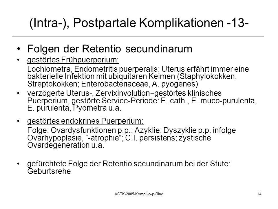 AGTK-2005-Kompli-p-p-Rind14 (Intra-), Postpartale Komplikationen -13- Folgen der Retentio secundinarum gestörtes Frühpuerperium: Lochiometra, Endometr