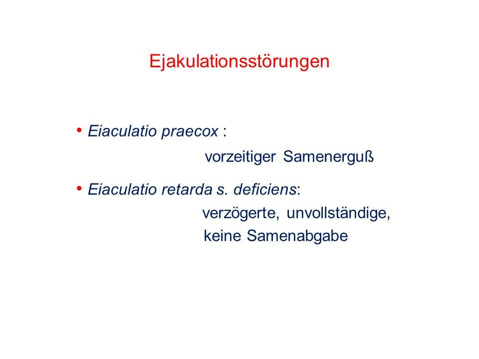 Eiaculatio praecox : vorzeitiger Samenerguß Eiaculatio retarda s. deficiens: verzögerte, unvollständige, keine Samenabgabe Ejakulationsstörungen