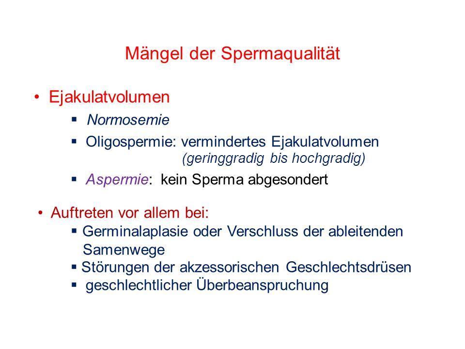 Mängel der Spermaqualität Ejakulatvolumen Normosemie Oligospermie: vermindertes Ejakulatvolumen (geringgradig bis hochgradig) Aspermie: kein Sperma ab