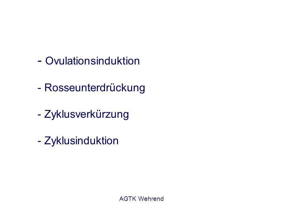 AGTK Wehrend Ovulationsinduktion - Stute befindet sich in der Rosse - Ziel: zeitliche Eingrenzung des Ovulationszeitpunktes fertile Ovulation Zeitpunkt der Verabreichung wichtig Reaktivität des Follikels (LH-Rezeptoren) präovulatorischer Follikel 3,5 cm Keine Ovulationsinduktion ohne gyn.
