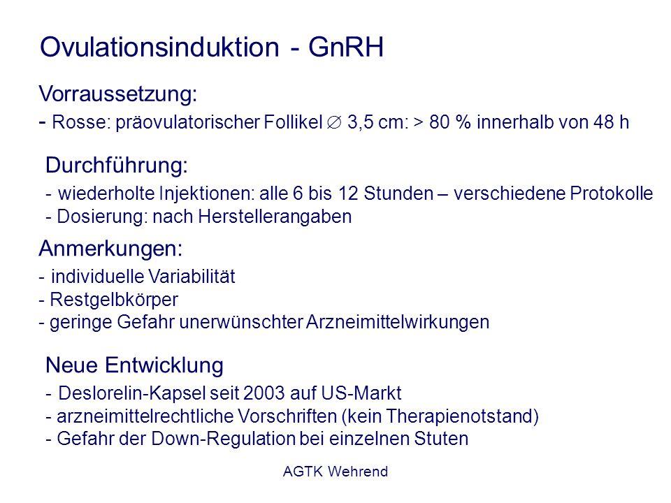 AGTK Wehrend GnRH LH/FSH Ovar Gestagen - Zyklusinduktion Gestagene (Altrenogest): - negatives Feedback auf die GnRH-Freisetzung - LH/FSH - FSH - Follikelwachstum - verstärkte LH-Freisetzung nach Wegfall des Gestageneinflusses