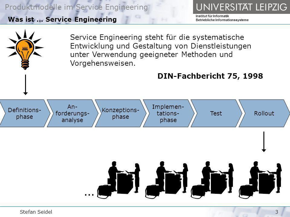 Produktmodelle im Service Engineering Institut für Informatik Betriebliche Informationssysteme Stefan Seidel4 Was sind … Dienstleistungsprodukte ein Dienstleistungsprodukt ist das Bündel der zur Erbringung der Dienstleistung benötigten Unterdienstleistungen, Ressourcen, Produkte (im industriellen Sinne), Prozesse und Schnittstellen