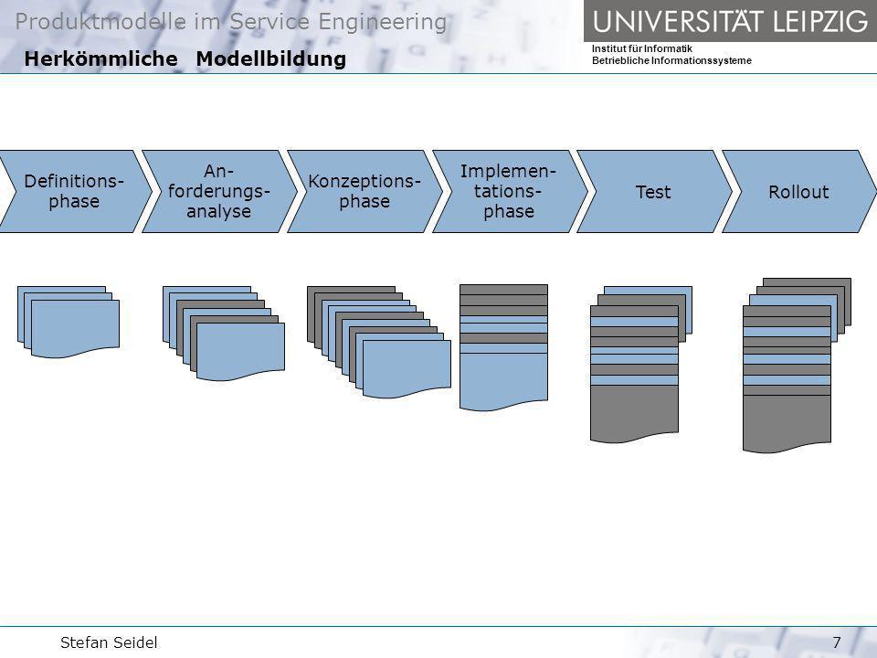 Produktmodelle im Service Engineering Institut für Informatik Betriebliche Informationssysteme Stefan Seidel8 Das neue Metamodell Rollout An- forderungs- analyse Konzeptions- phase Test Implemen- tations- phase Definitions- phase