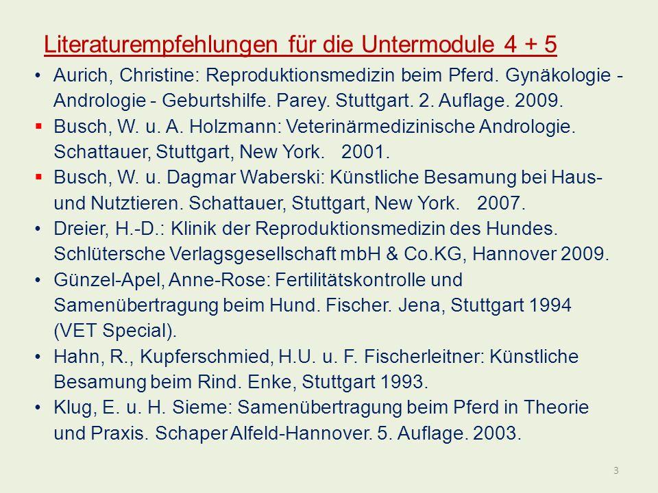 Aurich, Christine: Reproduktionsmedizin beim Pferd. Gynäkologie - Andrologie - Geburtshilfe. Parey. Stuttgart. 2. Auflage. 2009. Busch, W. u. A. Holzm