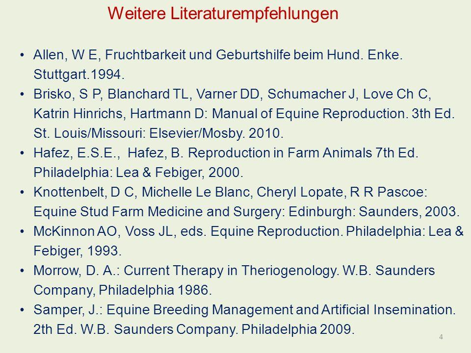 Allen, W E, Fruchtbarkeit und Geburtshilfe beim Hund. Enke. Stuttgart.1994. Brisko, S P, Blanchard TL, Varner DD, Schumacher J, Love Ch C, Katrin Hinr