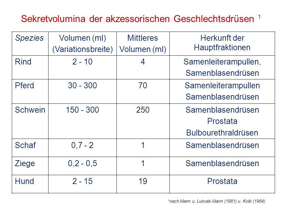 Sekretvolumina der akzessorischen Geschlechtsdrüsen 1 SpeziesVolumen (ml) (Variationsbreite) Mittleres Volumen (ml) Herkunft der Hauptfraktionen Rind2