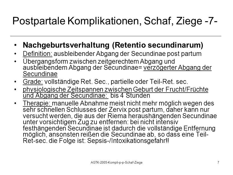 AGTK-2005-Kompli-p-p-Schaf-Ziege7 Postpartale Komplikationen, Schaf, Ziege -7- Nachgeburtsverhaltung (Retentio secundinarum) Definition: ausbleibender Abgang der Secundinae post partum Übergangsform zwischen zeitgerechtem Abgang und ausbleibendem Abgang der Secundinae= verzögerter Abgang der Secundinae Grade: vollständige Ret.