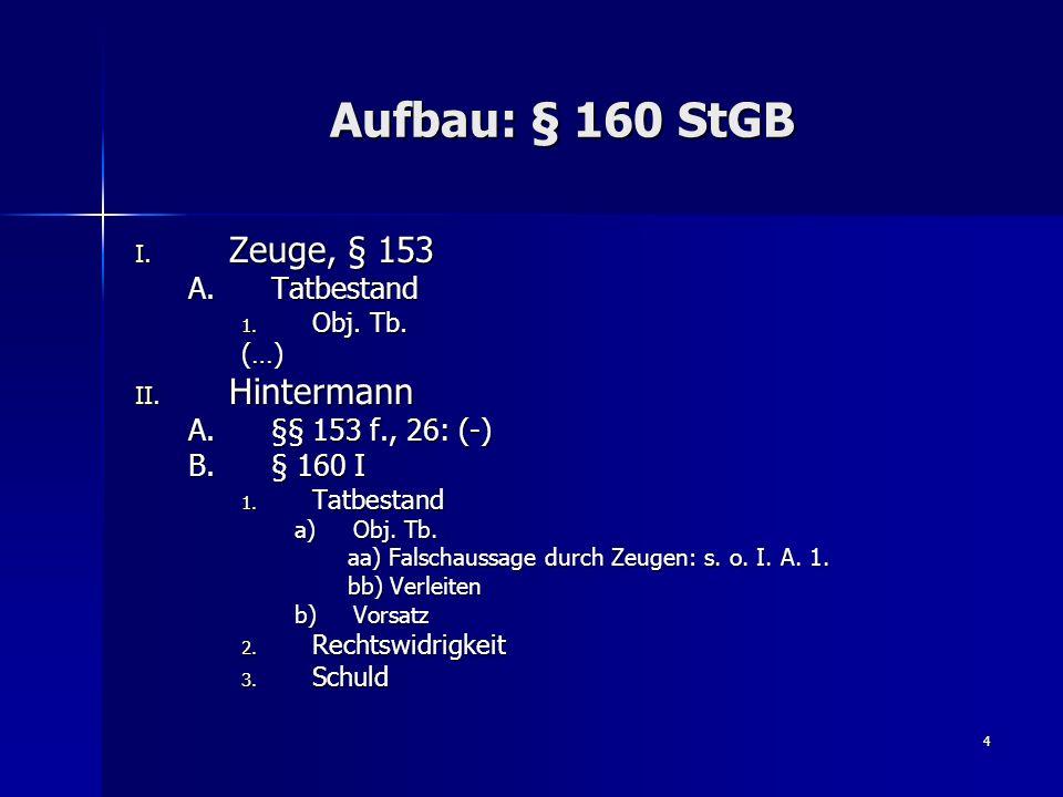 4 Aufbau: § 160 StGB I. Zeuge, § 153 A.Tatbestand 1. Obj. Tb. (…) II. Hintermann A.§§ 153 f., 26: (-) B.§ 160 I 1. Tatbestand a)Obj. Tb. aa) Falschaus