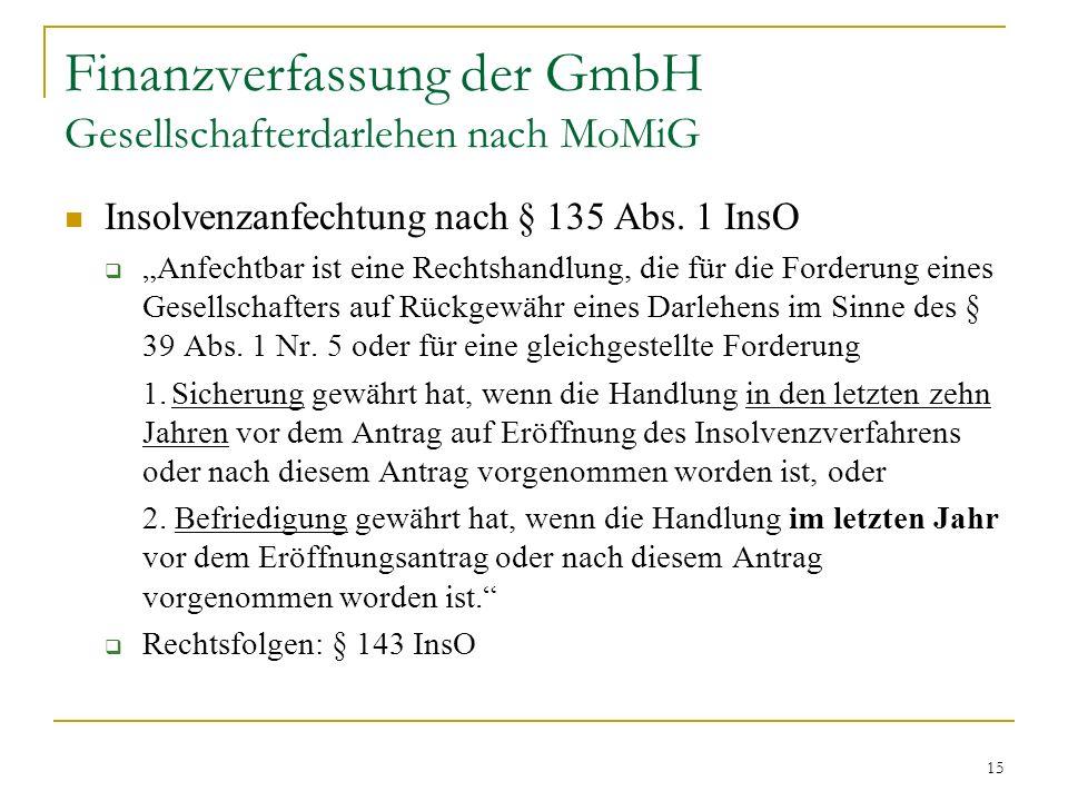 15 Finanzverfassung der GmbH Gesellschafterdarlehen nach MoMiG Insolvenzanfechtung nach § 135 Abs.