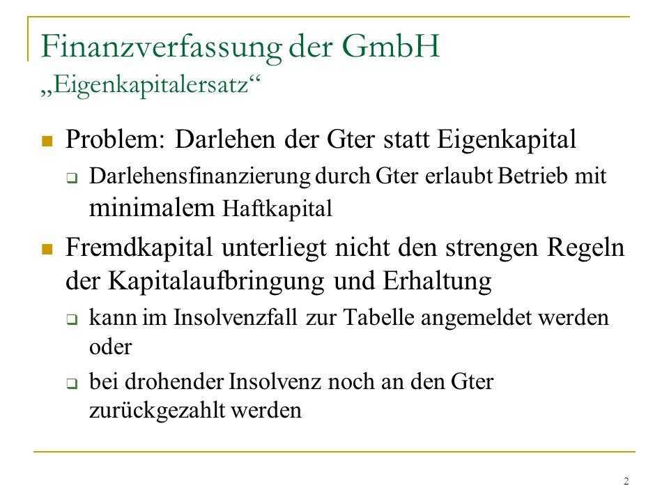 3 Finanzverfassung der GmbH Eigenkapitalersatz Gefahren Gter treten in Verteilungskonkurrenz zu den gewöhnlichen Gläubigern Gter wissen als Insider am besten, wann Rückzahlung geboten Leerlaufen der Kapitalvorschriften durch Darlehensfinanzierung