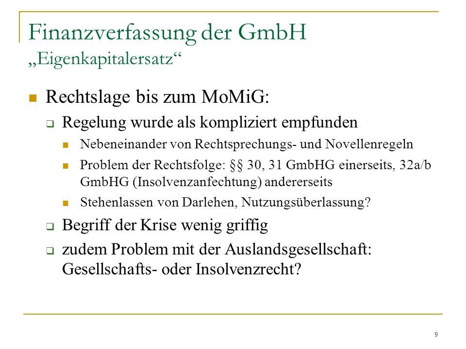 9 Finanzverfassung der GmbH Eigenkapitalersatz Rechtslage bis zum MoMiG: Regelung wurde als kompliziert empfunden Nebeneinander von Rechtsprechungs- und Novellenregeln Problem der Rechtsfolge: §§ 30, 31 GmbHG einerseits, 32a/b GmbHG (Insolvenzanfechtung) andererseits Stehenlassen von Darlehen, Nutzungsüberlassung.