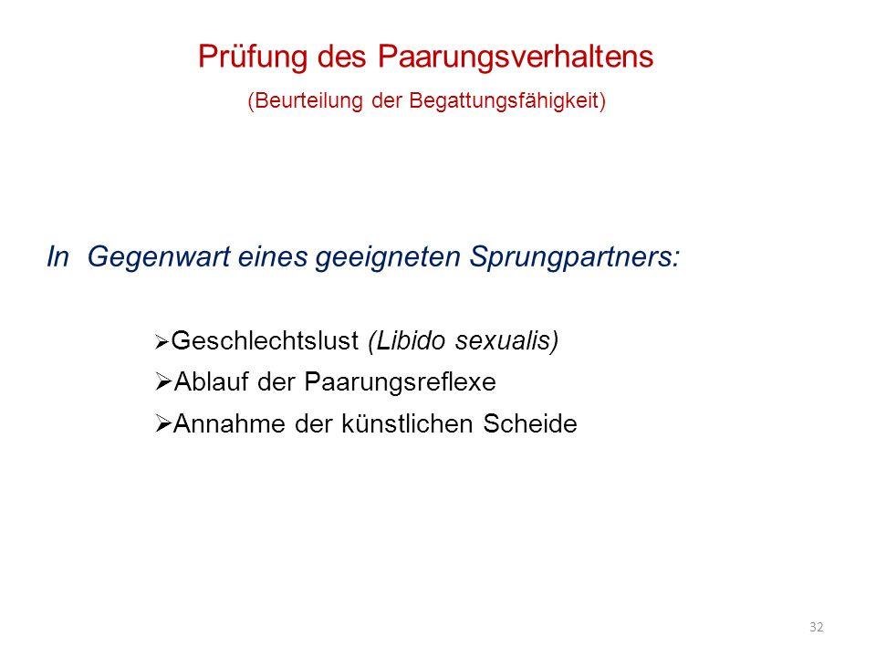 32 Prüfung des Paarungsverhaltens (Beurteilung der Begattungsfähigkeit) In Gegenwart eines geeigneten Sprungpartners: Geschlechtslust (Libido sexualis