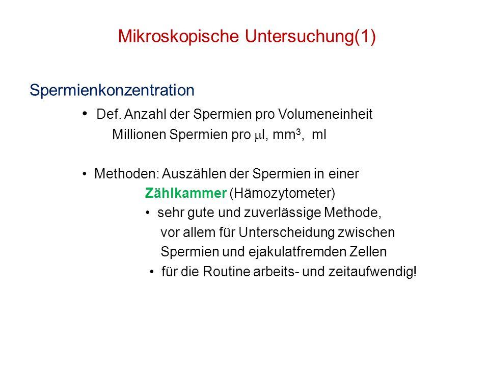 Mikroskopische Untersuchung(1) Spermienkonzentration Def. Anzahl der Spermien pro Volumeneinheit Millionen Spermien pro l, mm 3, ml Methoden: Auszähle
