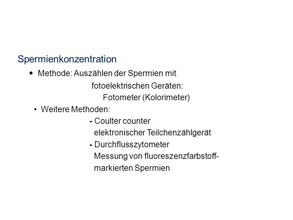 Spermienkonzentration Methode: Auszählen der Spermien mit fotoelektrischen Geräten: Fotometer (Kolorimeter) Weitere Methoden: - Coulter counter elektr