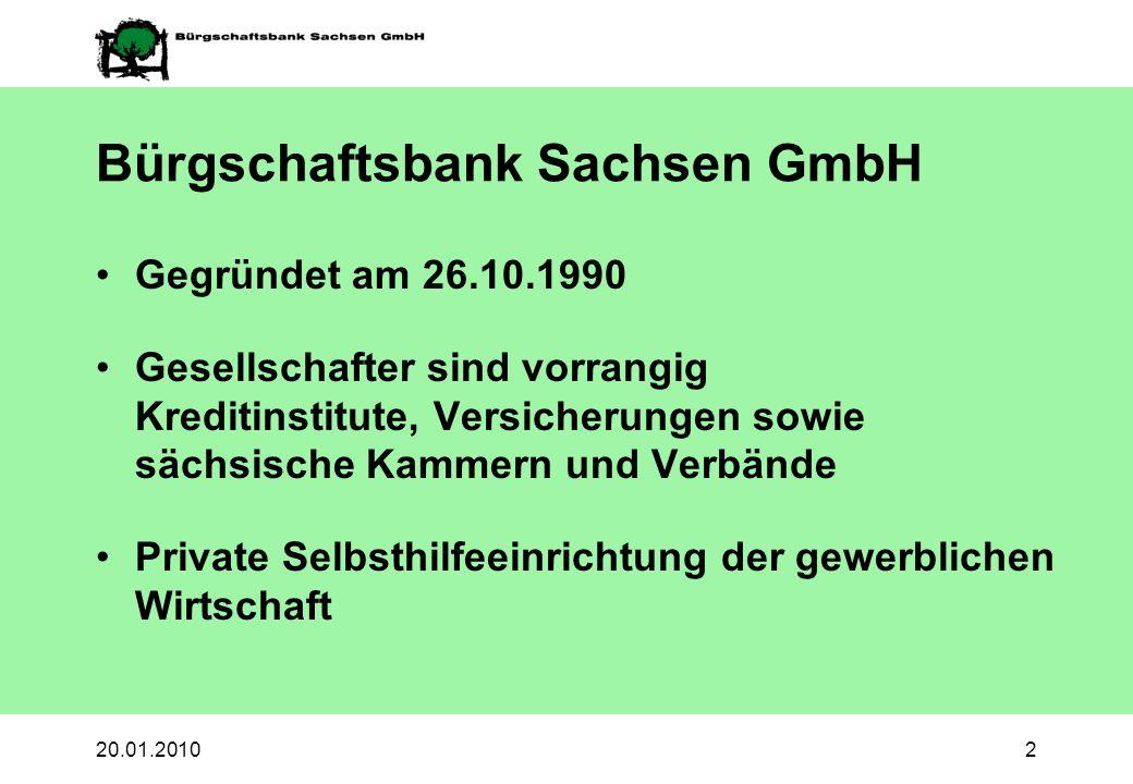 20.01.20102 Bürgschaftsbank Sachsen GmbH Gegründet am 26.10.1990 Gesellschafter sind vorrangig Kreditinstitute, Versicherungen sowie sächsische Kammer