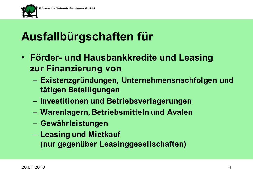 20.01.20104 Ausfallbürgschaften für Förder- und Hausbankkredite und Leasing zur Finanzierung von –Existenzgründungen, Unternehmensnachfolgen und tätig