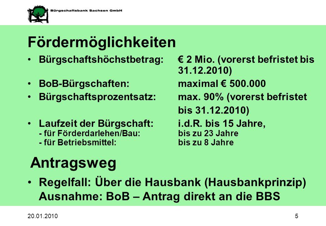 20.01.20105 Fördermöglichkeiten Bürgschaftshöchstbetrag: 2 Mio. (vorerst befristet bis 31.12.2010) BoB-Bürgschaften: maximal 500.000 Bürgschaftsprozen