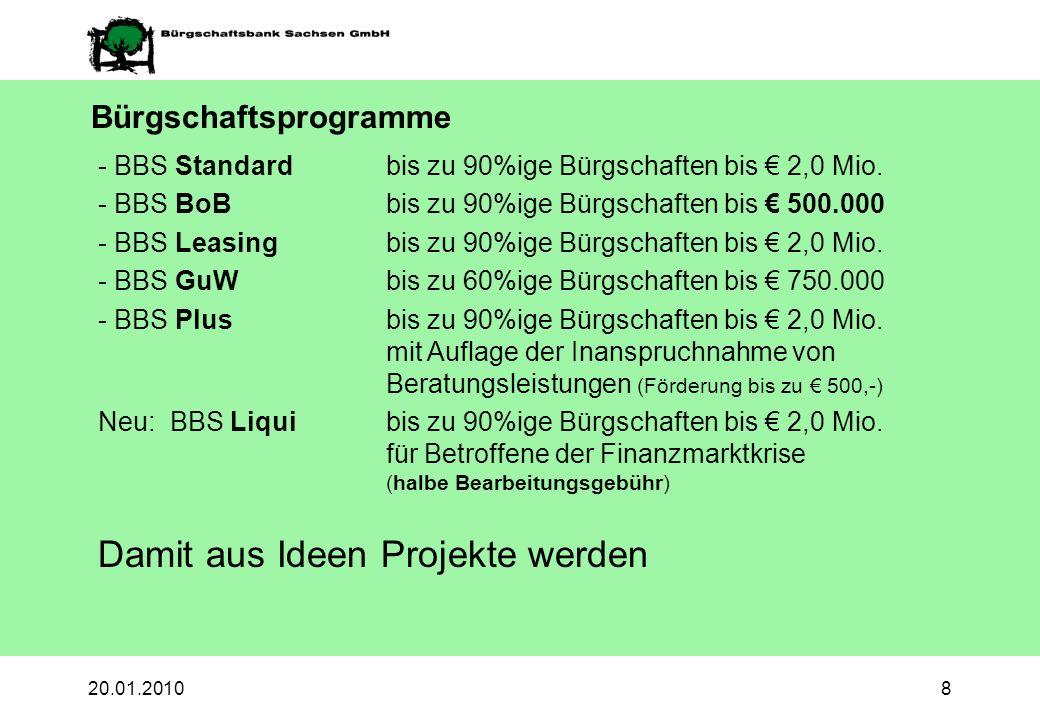 20.01.20108 Bürgschaftsprogramme - BBS Standardbis zu 90%ige Bürgschaften bis 2,0 Mio. - BBS BoB bis zu 90%ige Bürgschaften bis 500.000 - BBS Leasingb