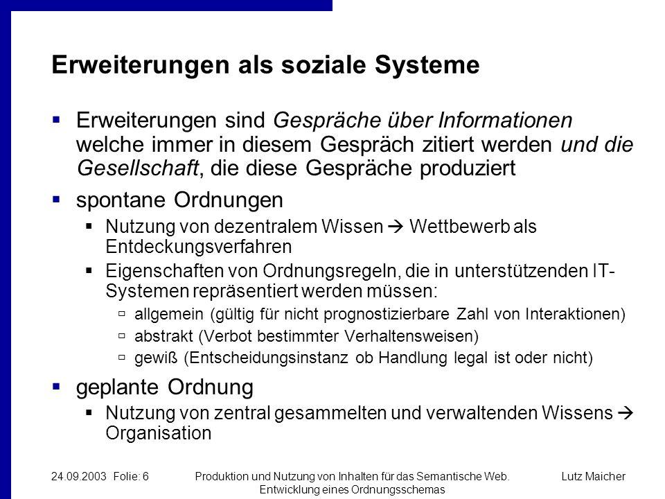 Lutz Maicher24.09.2003 Folie: 7Produktion und Nutzung von Inhalten für das Semantische Web.