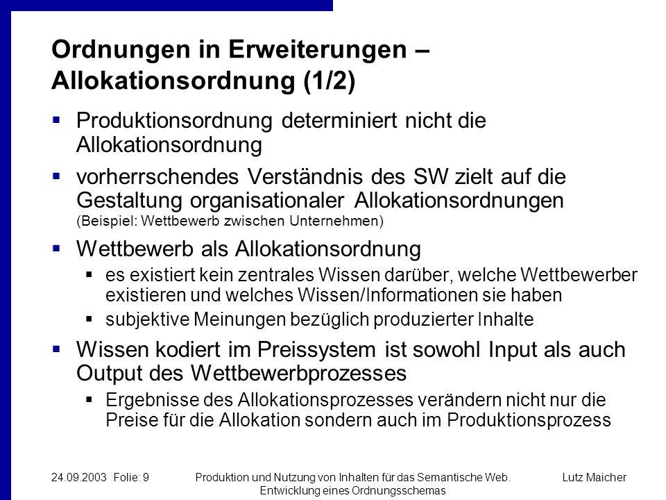 Lutz Maicher24.09.2003 Folie: 10Produktion und Nutzung von Inhalten für das Semantische Web.