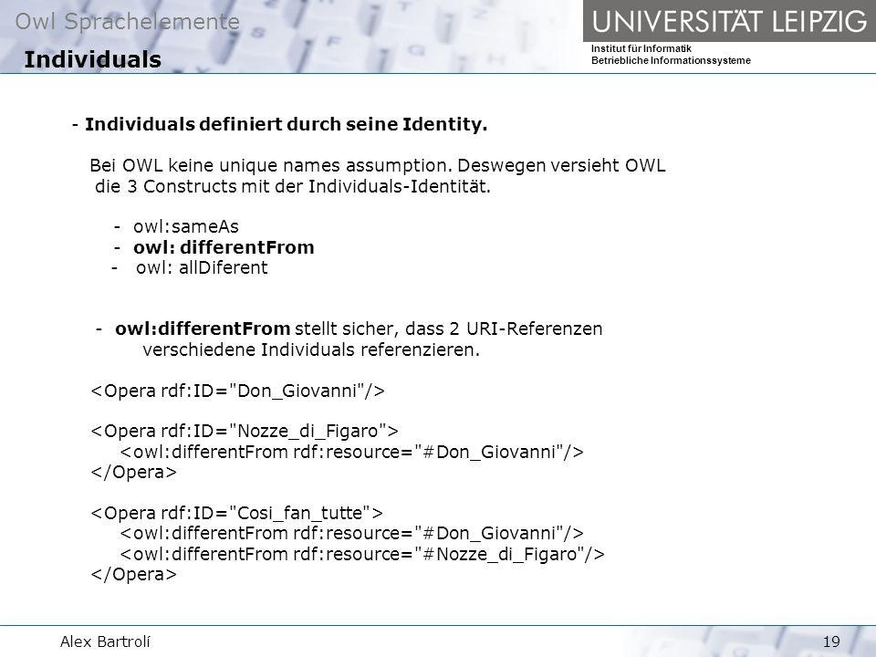 Owl Sprachelemente Institut für Informatik Betriebliche Informationssysteme Alex Bartrolí19 - Individuals definiert durch seine Identity.
