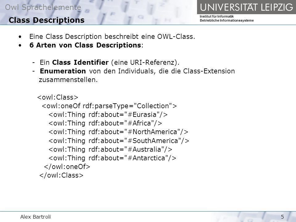 Owl Sprachelemente Institut für Informatik Betriebliche Informationssysteme Alex Bartrolí5 Eine Class Description beschreibt eine OWL-Class.