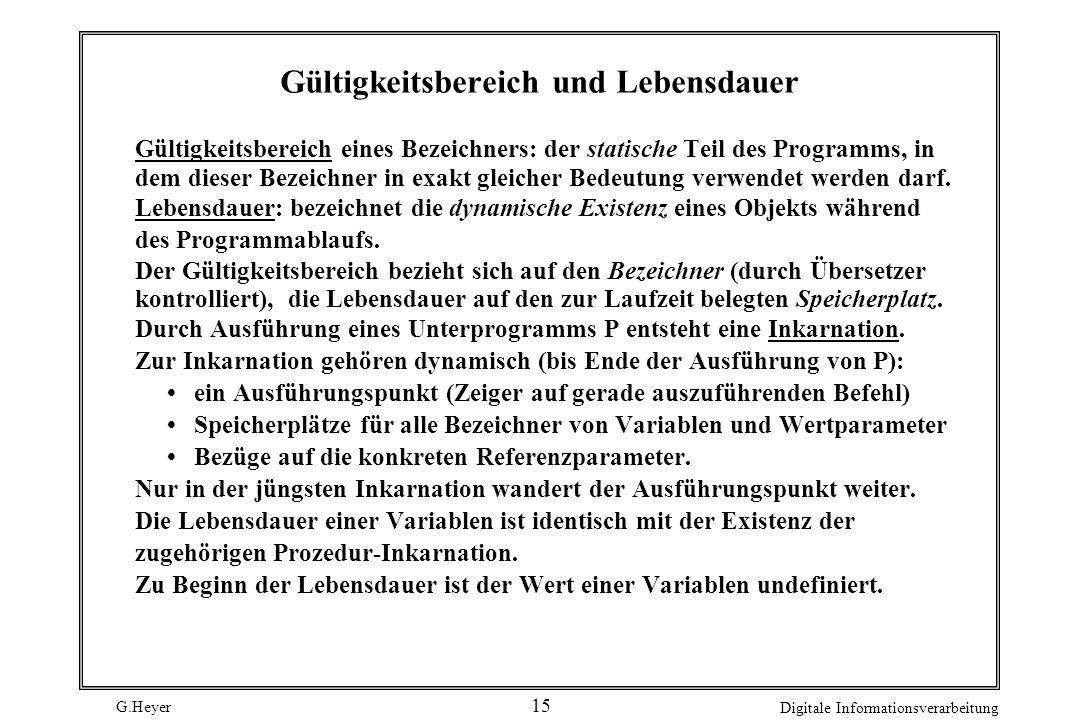 G.Heyer Digitale Informationsverarbeitung 15 Gültigkeitsbereich und Lebensdauer Gültigkeitsbereich eines Bezeichners: der statische Teil des Programms