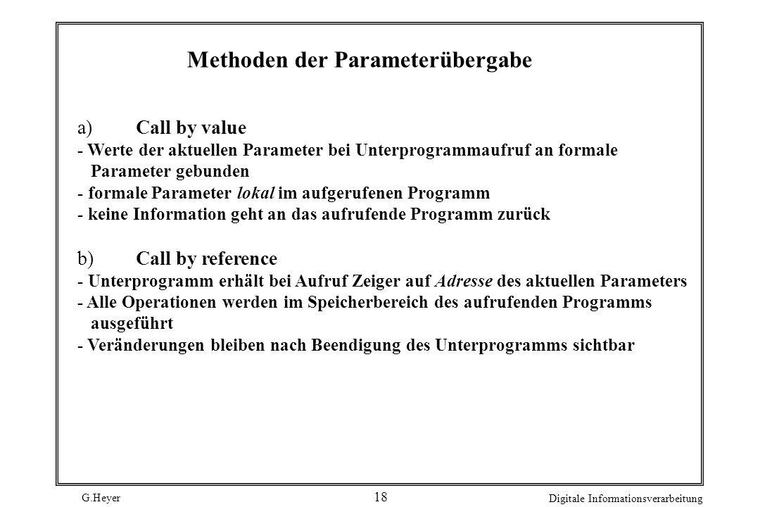 G.Heyer Digitale Informationsverarbeitung 18 Methoden der Parameterübergabe a)Call by value - Werte der aktuellen Parameter bei Unterprogrammaufruf an
