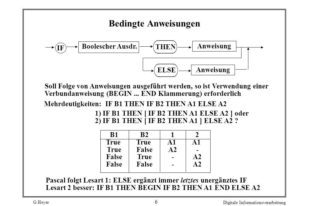G.Heyer Digitale Informationsverarbeitung 6 Bedingte Anweisungen Boolescher Ausdr. Anweisung IF THEN Anweisung ELSE Mehrdeutigkeiten:IF B1 THEN IF B2