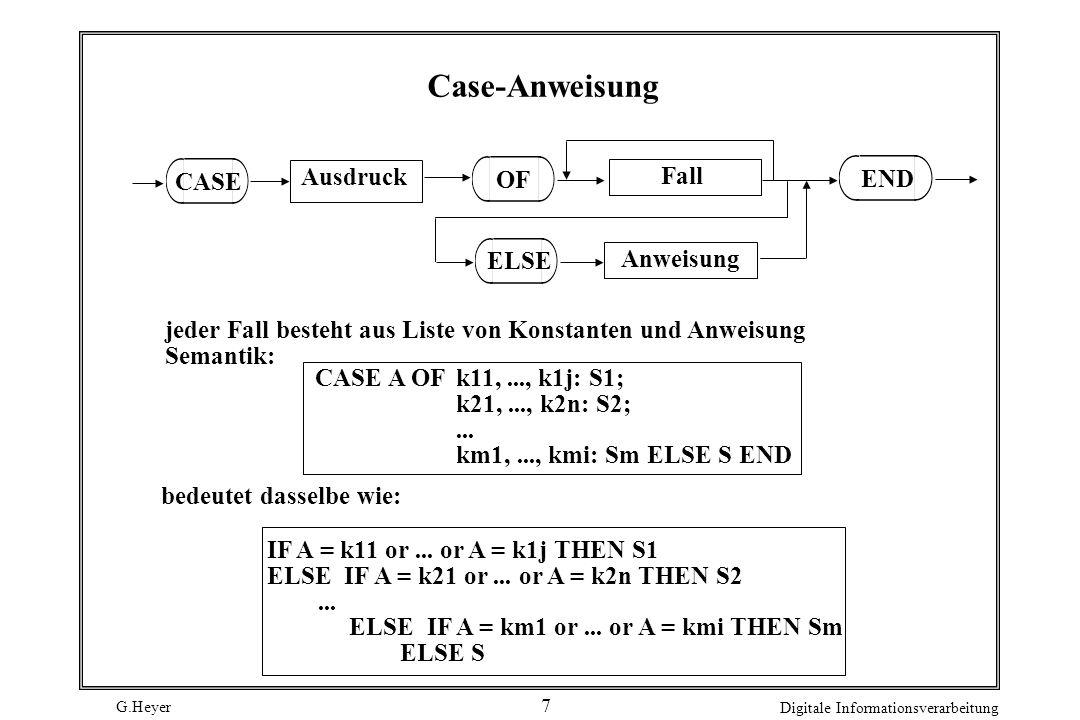 G.Heyer Digitale Informationsverarbeitung 7 Case-Anweisung Ausdruck Fall CASE OF Anweisung ELSE jeder Fall besteht aus Liste von Konstanten und Anweis