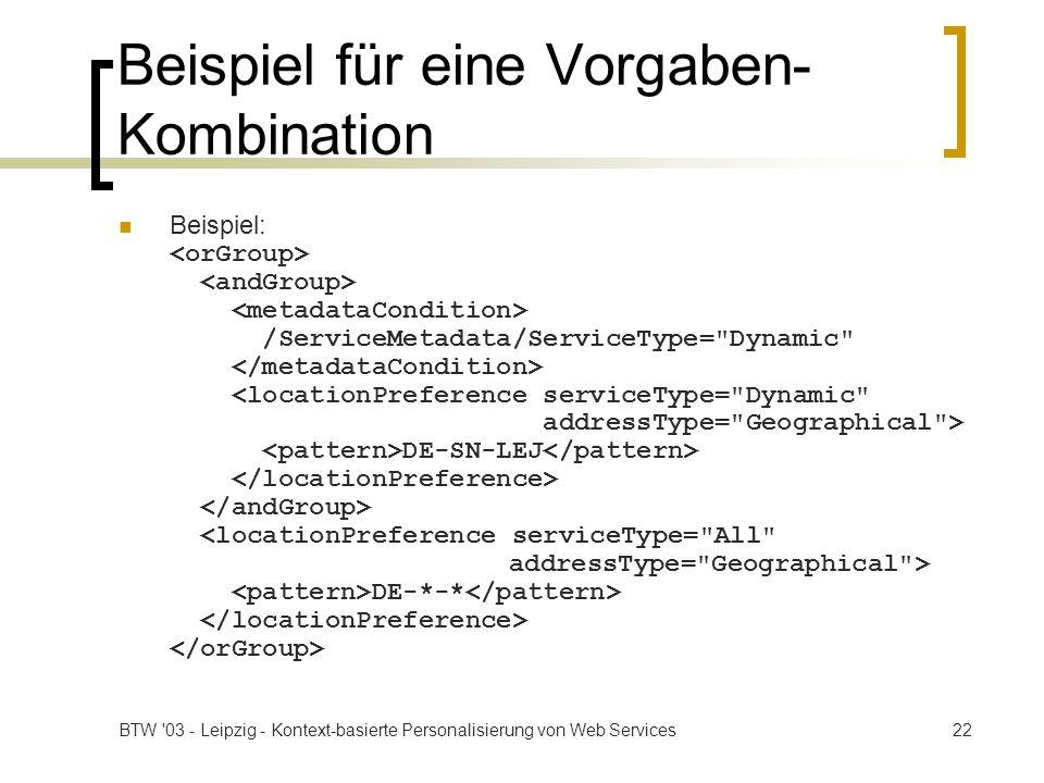 BTW '03 - Leipzig - Kontext-basierte Personalisierung von Web Services22 Beispiel für eine Vorgaben- Kombination Beispiel: /ServiceMetadata/ServiceTyp