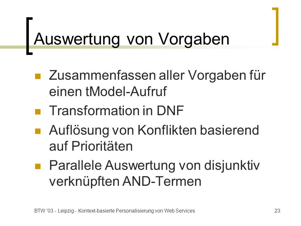 BTW '03 - Leipzig - Kontext-basierte Personalisierung von Web Services23 Auswertung von Vorgaben Zusammenfassen aller Vorgaben für einen tModel-Aufruf