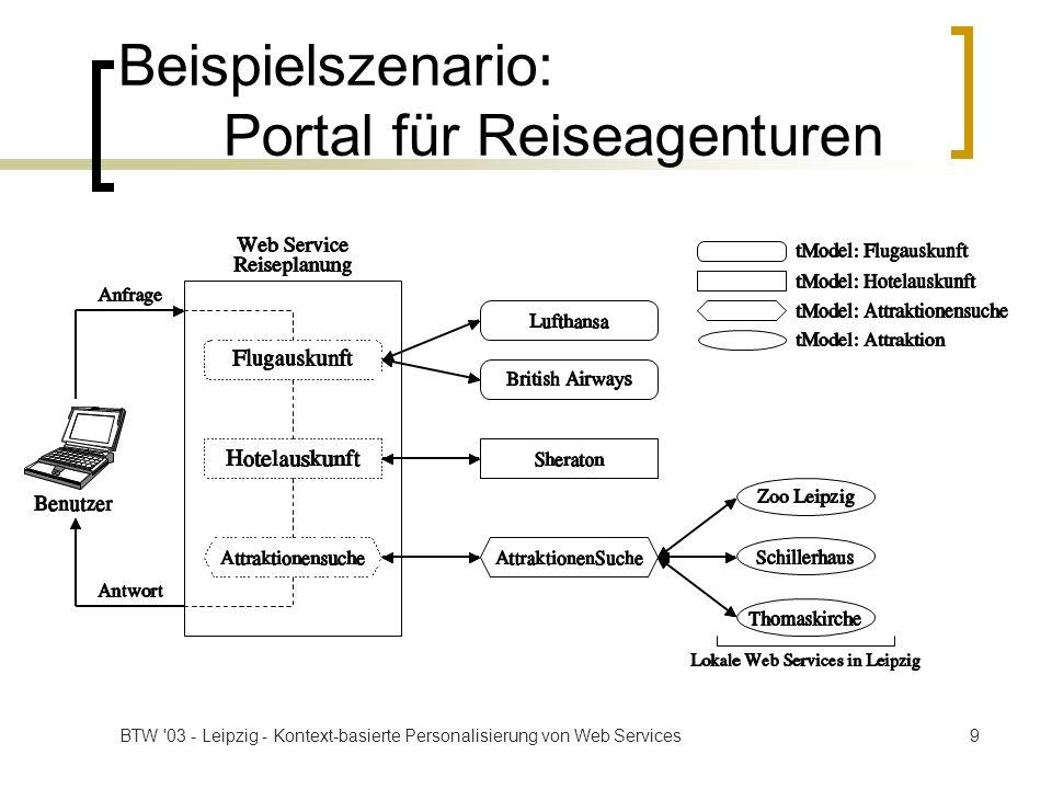 BTW 03 - Leipzig - Kontext-basierte Personalisierung von Web Services30 Zusammenfassung Kontext für Web Services Dienstplattform: ServiceGlobe Architektur Schlüsseleigenschaften Dynamische Dienstauswahl Personalisierbare und flexible Ausführung von Diensten