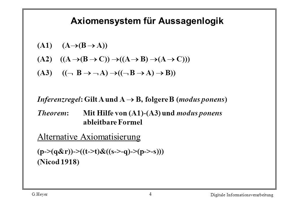 G.Heyer Digitale Informationsverarbeitung 3 Aussagenlogik Aussagenlogik - Syntax Eine atomare Formel hat die Form A i (wobei i = 1,2,3): (1) Alle atom