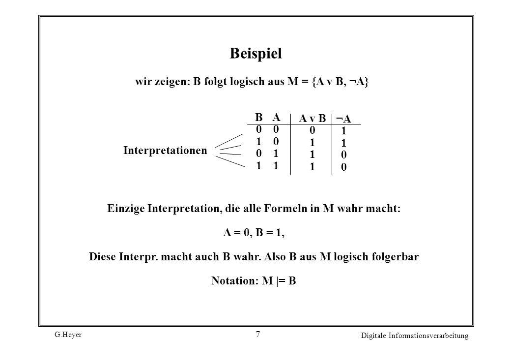 G.Heyer Digitale Informationsverarbeitung 6 Wahrheitstafel A 1 A 2...A n-1 A n F I 1 0000I 1 (F) I 2 0001I 2 (F)... I 2 n 1111I 2 n (F)
