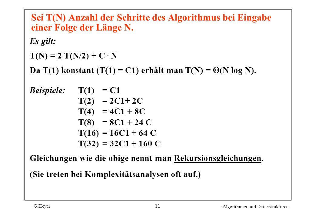 G.Heyer Algorithmen und Datenstrukturen 11 Sei T(N) Anzahl der Schritte des Algorithmus bei Eingabe einer Folge der Länge N. Es gilt: T(N) = 2 T(N/2)