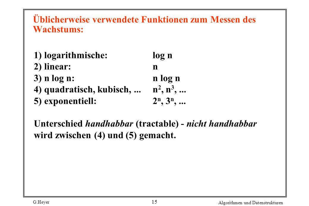 G.Heyer Algorithmen und Datenstrukturen 15 Üblicherweise verwendete Funktionen zum Messen des Wachstums: 1) logarithmische:log n 2) linear:n 3) n log