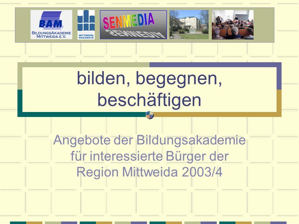 2 Programm der BAM Vorträge Gesprächskreise Projekte Weiterbildungskurse Exkursionen Reguläre Lehrveranstaltungen der Hochschule Mittweida Das Angebot der Bildungsakademie: