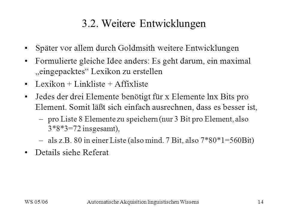 WS 05/06Automatische Akquisition linguistischen Wissens14 3.2. Weitere Entwicklungen Später vor allem durch Goldmsith weitere Entwicklungen Formuliert