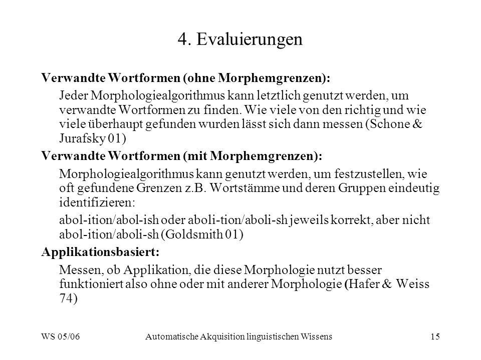 WS 05/06Automatische Akquisition linguistischen Wissens15 4. Evaluierungen Verwandte Wortformen (ohne Morphemgrenzen): Jeder Morphologiealgorithmus ka