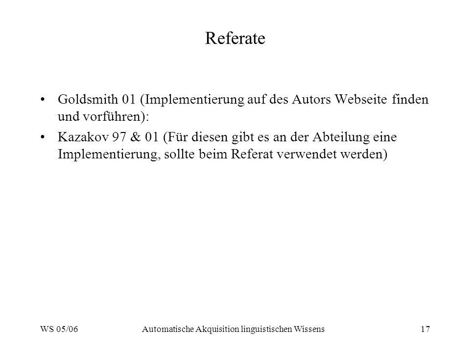 WS 05/06Automatische Akquisition linguistischen Wissens17 Referate Goldsmith 01 (Implementierung auf des Autors Webseite finden und vorführen): Kazako