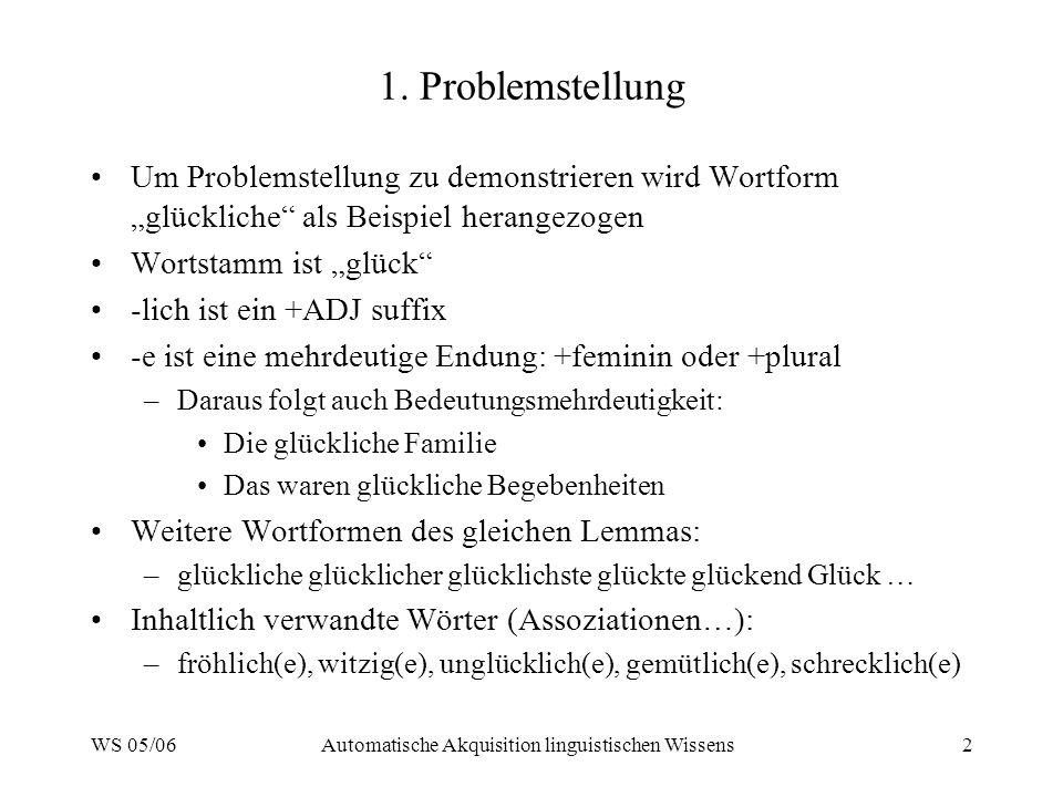WS 05/06Automatische Akquisition linguistischen Wissens2 1. Problemstellung Um Problemstellung zu demonstrieren wird Wortform glückliche als Beispiel