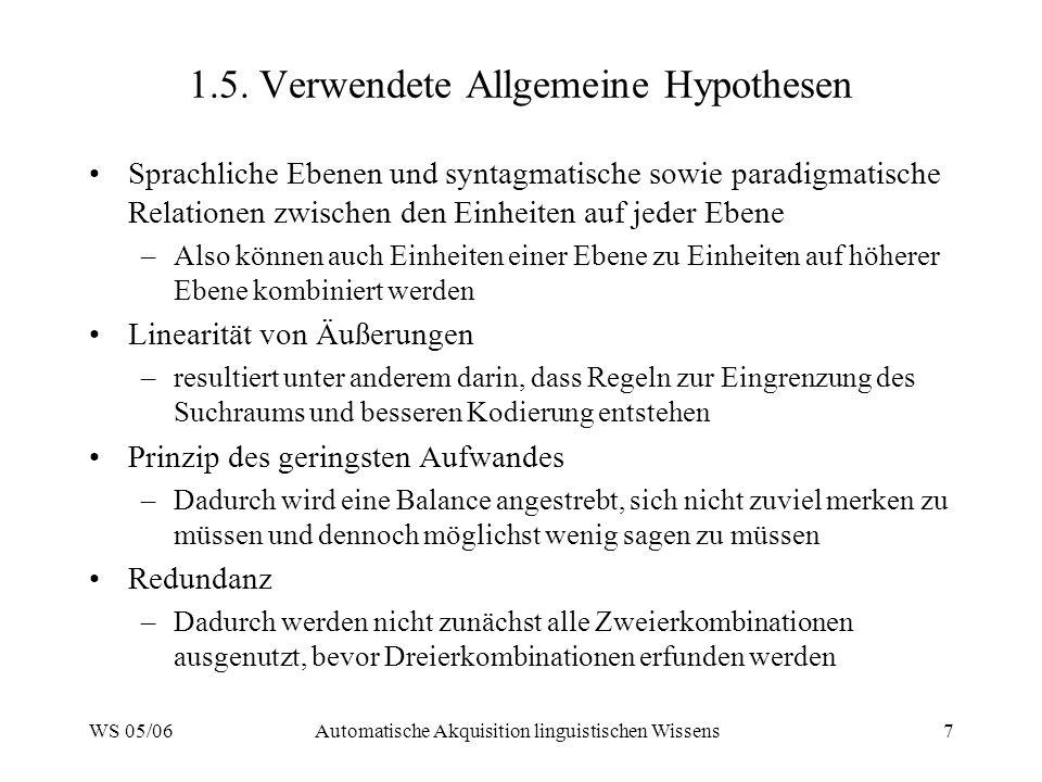 WS 05/06Automatische Akquisition linguistischen Wissens7 1.5. Verwendete Allgemeine Hypothesen Sprachliche Ebenen und syntagmatische sowie paradigmati