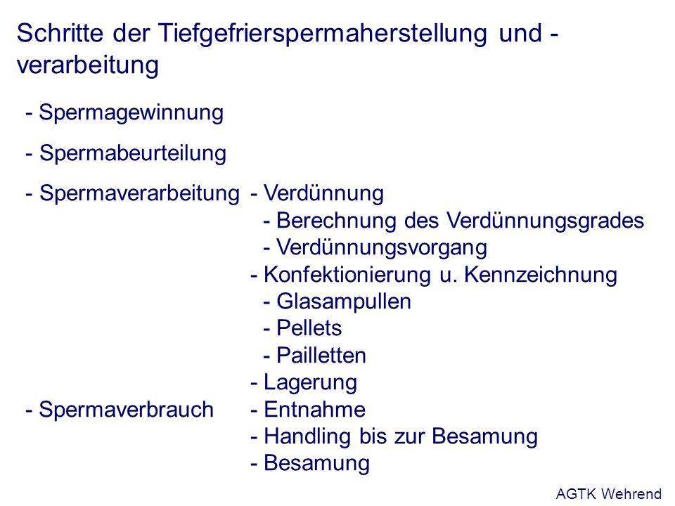 Schritte der Tiefgefrierspermaherstellung und - verarbeitung - Spermagewinnung - Spermabeurteilung - Spermaverarbeitung- Verdünnung - Berechnung des Verdünnungsgrades - Verdünnungsvorgang - Konfektionierung u.
